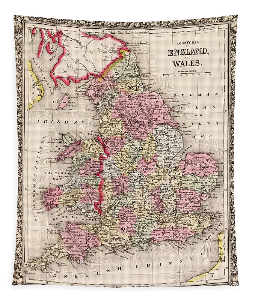 1800s Tapestry featuring the digital art 1800s Wales County Map Wales England Color by Toby McGuire