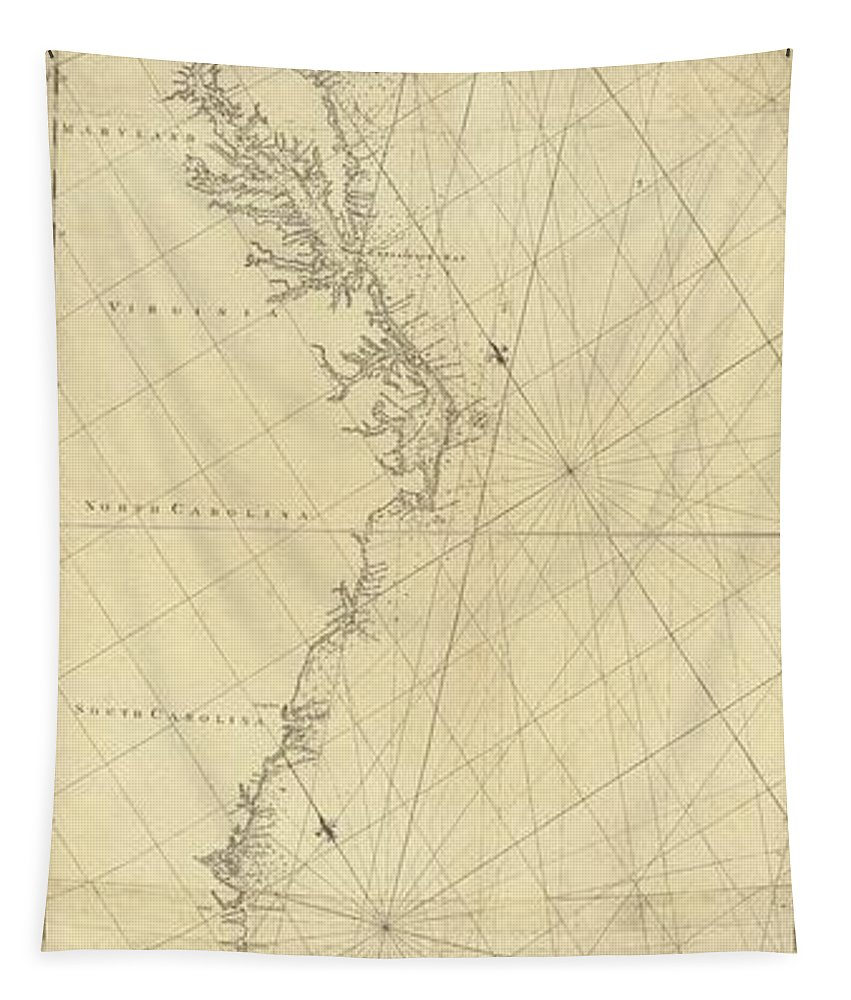 1807 North America Coastline Map Tapestry featuring the drawing 1807 North America Coastline Map by Dan Sproul