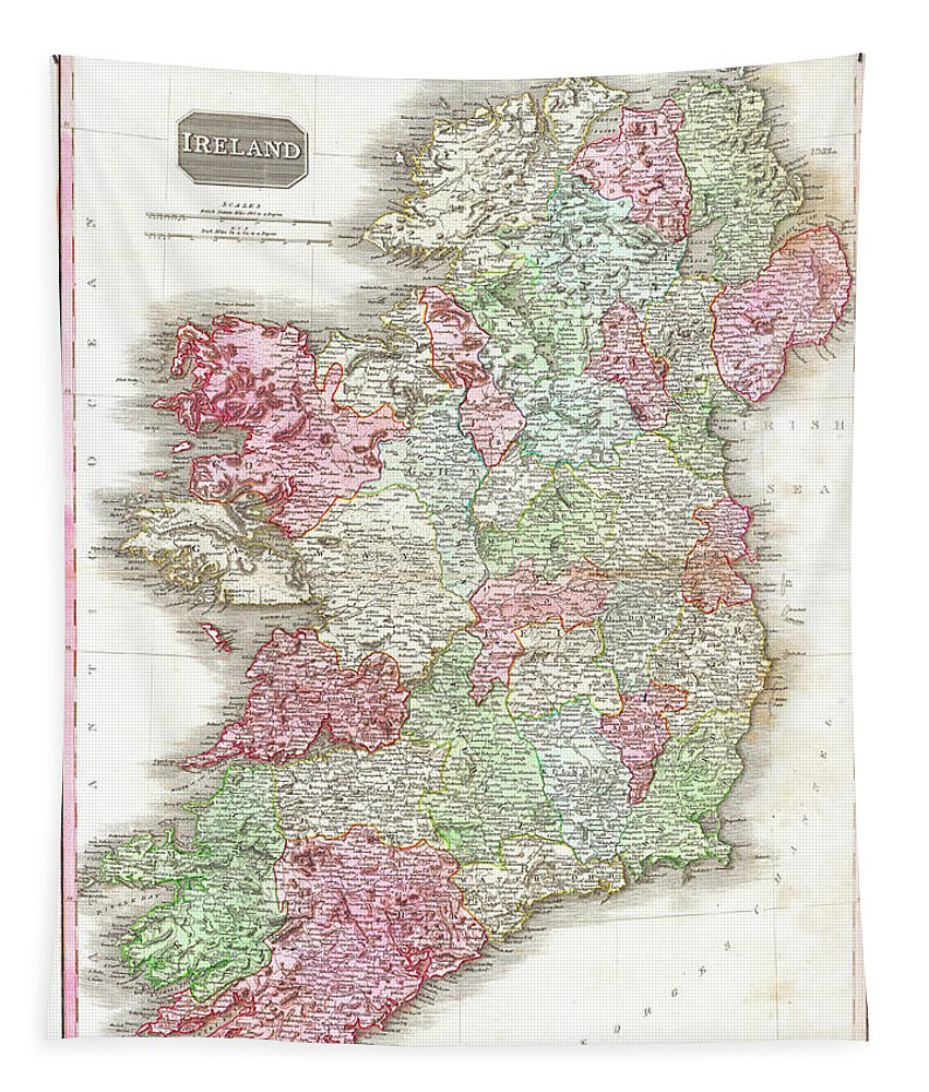 1818 Tapestry featuring the digital art 1818 Pinkerton Map Of Ireland by Bill Cannon