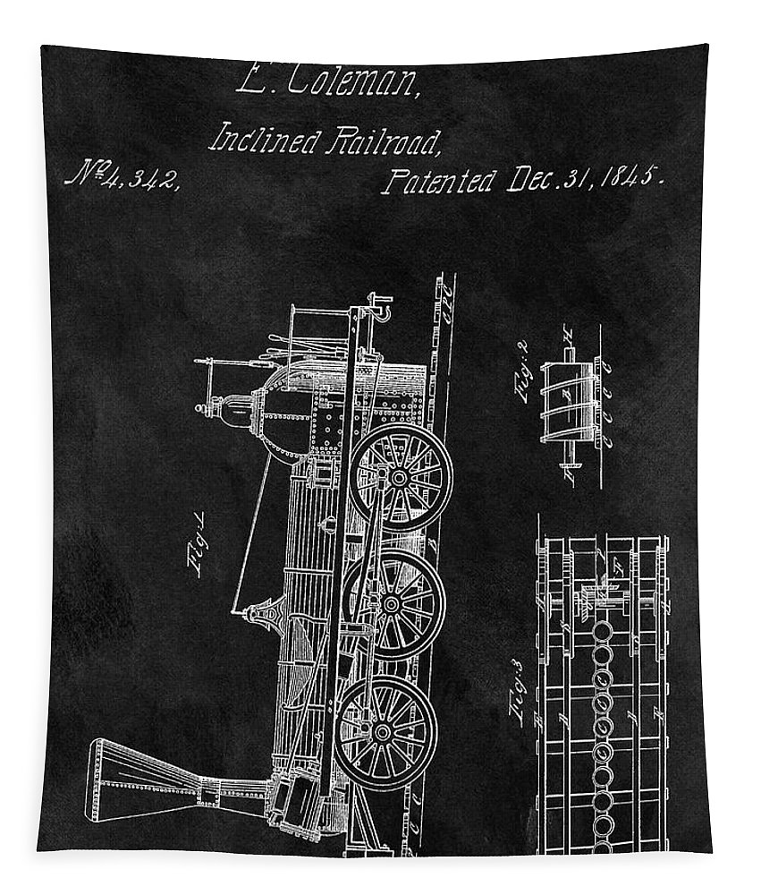1845 Locomotive Patent Tapestry featuring the drawing 1845 Railroad Patent by Dan Sproul