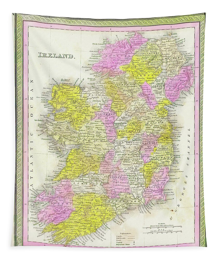 1850 Tapestry featuring the digital art 1850 Vintage Map Of Ireland by Bill Cannon