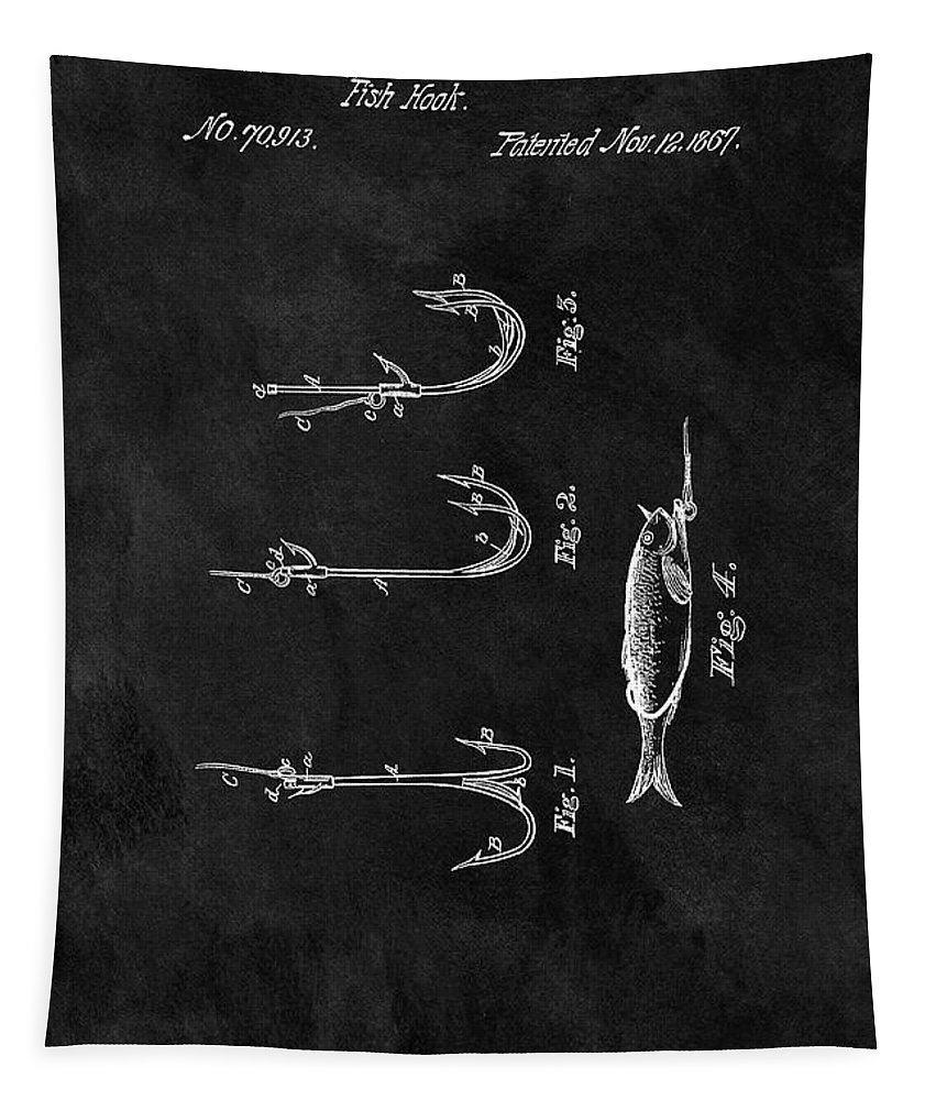 1867 Fishing Hook Patent Tapestry featuring the drawing 1867 Fishing Lure Patent by Dan Sproul