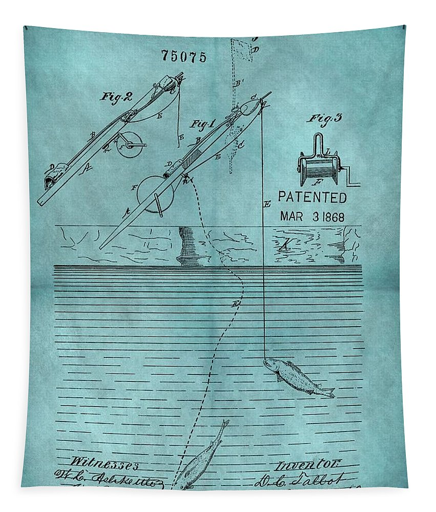 1868 Fishing Tackle Patent Tapestry featuring the drawing 1868 Fishing Tackle Patent Blue by Dan Sproul