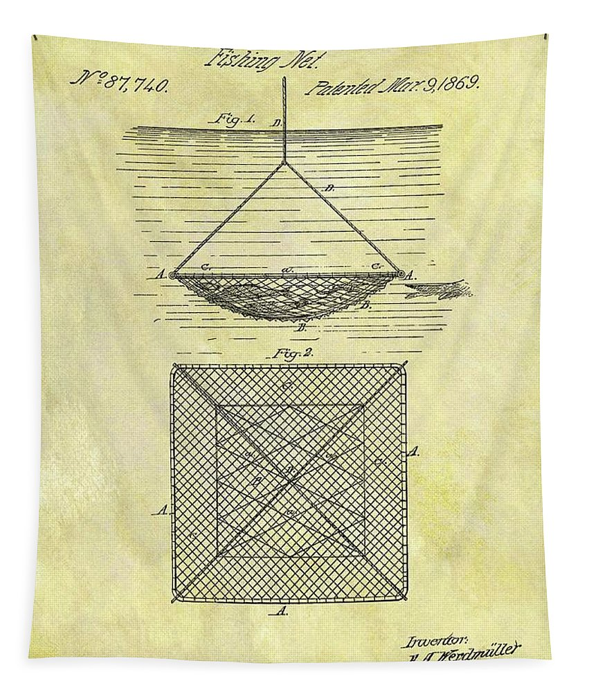 1869 Fishing Net Patent Tapestry featuring the drawing 1869 Fishing Net Patent by Dan Sproul