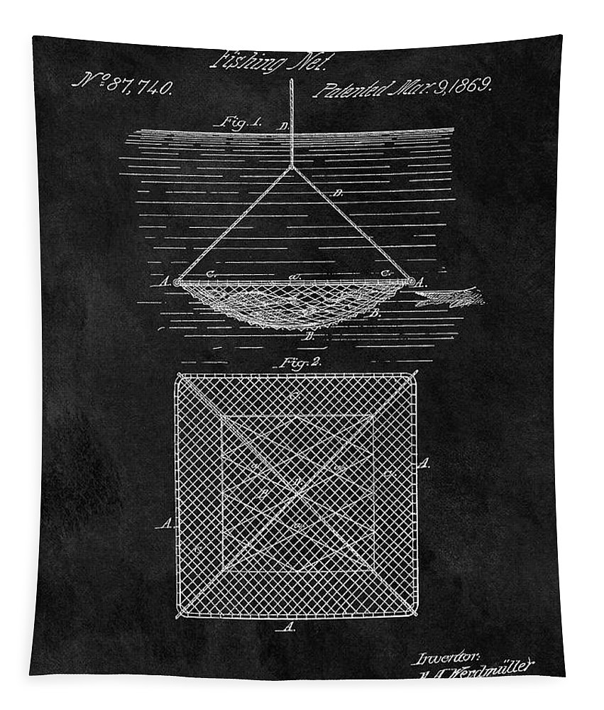 1869 Fishing Net Patent Tapestry featuring the drawing 1869 Fishnet Patent by Dan Sproul