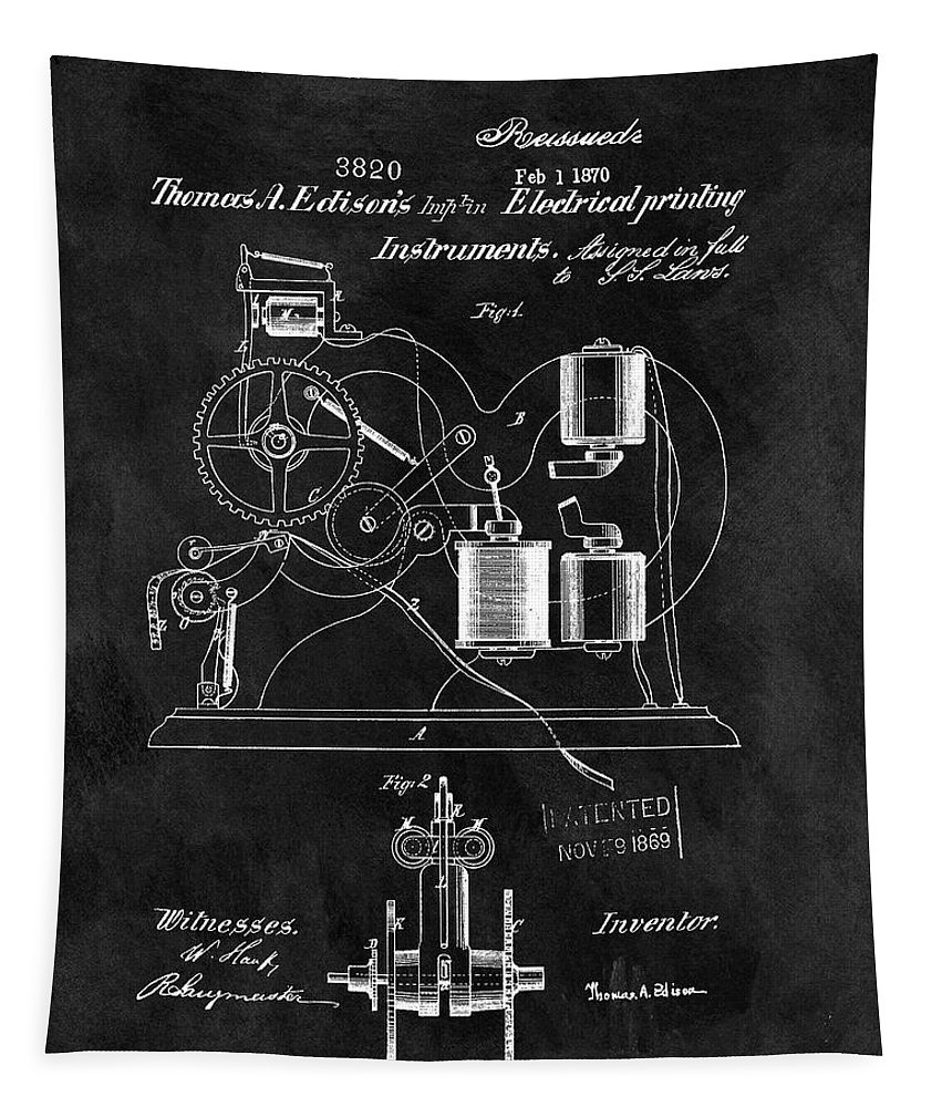 1870 Thomas Edison Patent Tapestry featuring the drawing 1870 Thomas Edison Print Patent by Dan Sproul