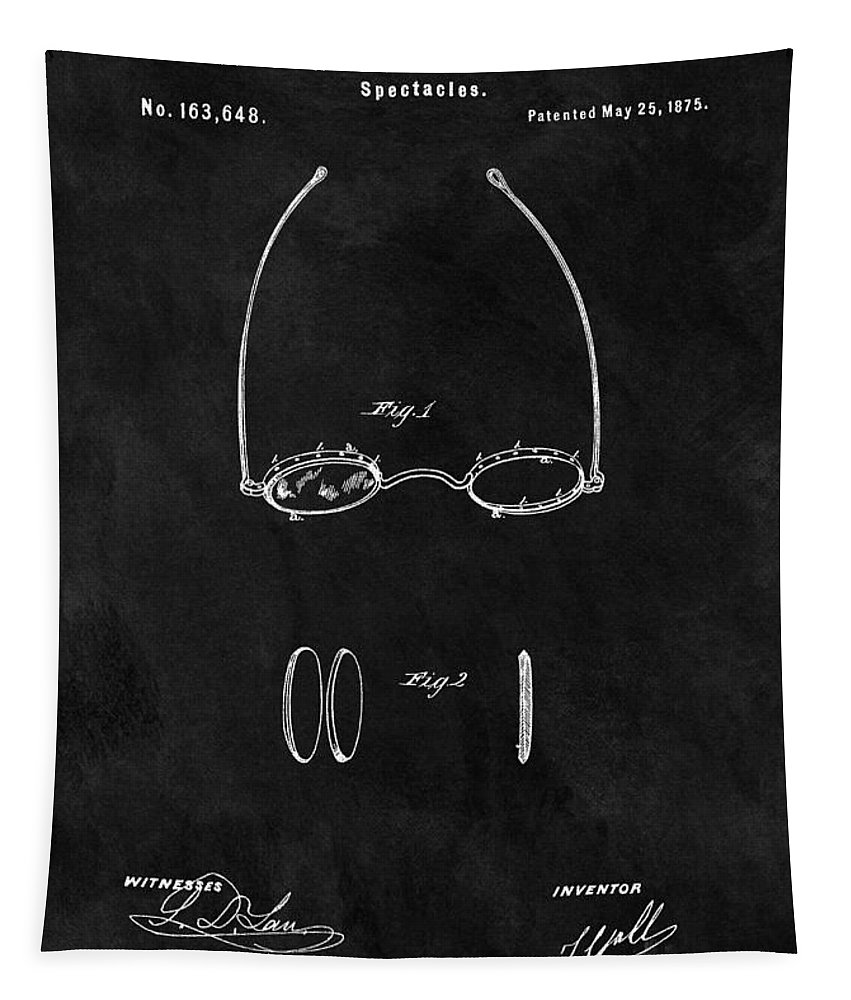 1875 Eyeglasses Patent Tapestry featuring the drawing 1875 Spectacles Patent by Dan Sproul