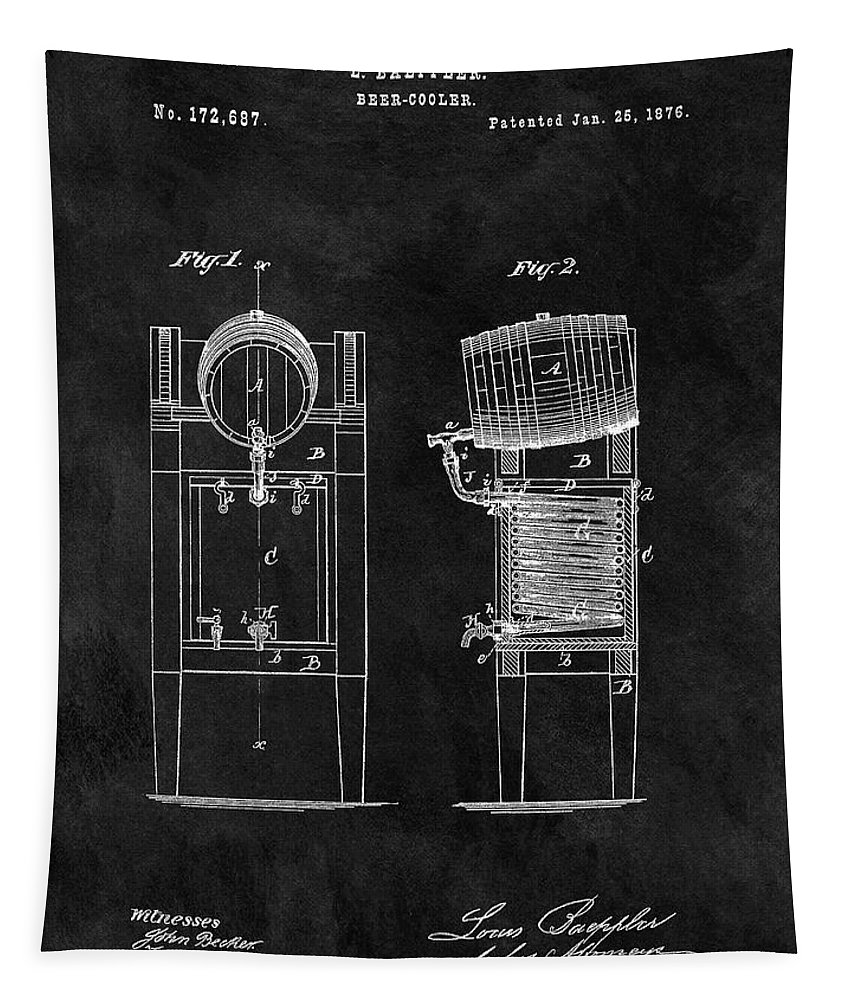 1876 Beer Cooler Patent Tapestry featuring the drawing 1876 Beer Cooler by Dan Sproul