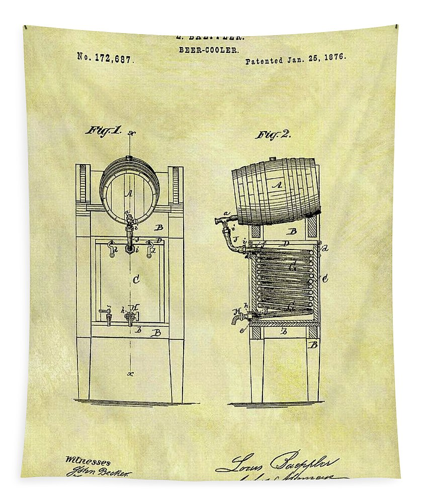 1876 Beer Cooler Patent Tapestry featuring the drawing 1876 Beer Cooler Patent by Dan Sproul