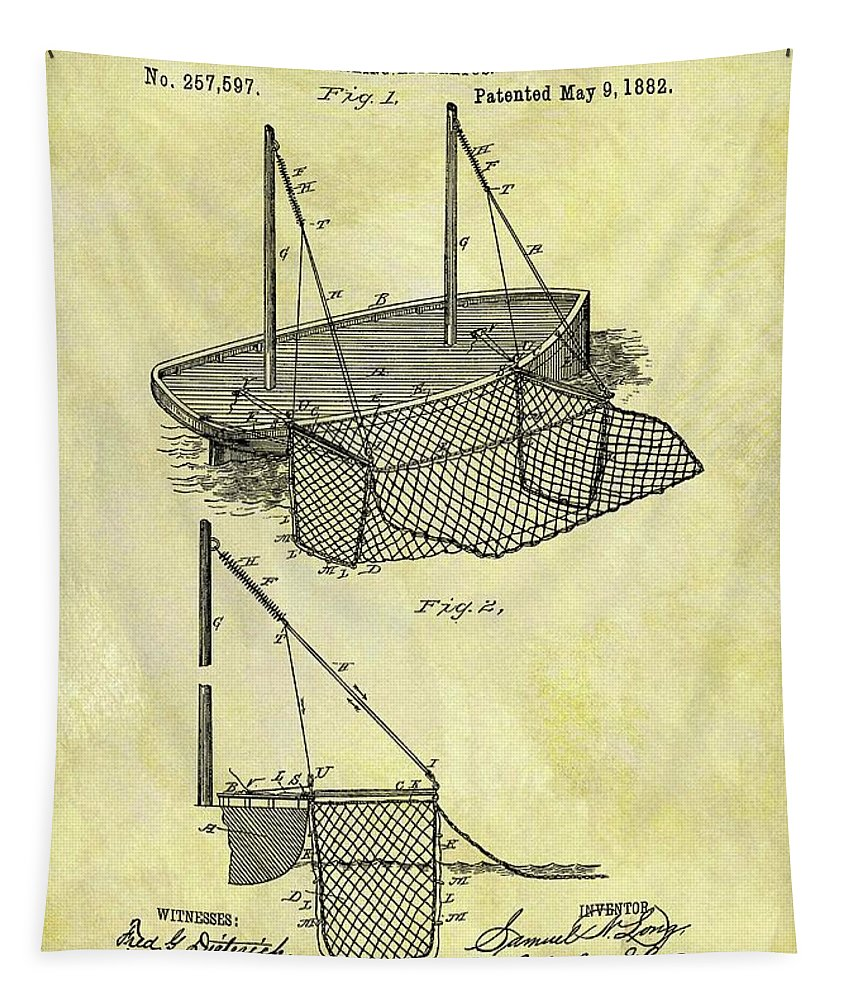 1882 Fishing Net Patent Tapestry featuring the drawing 1882 Fishing Net Patent by Dan Sproul