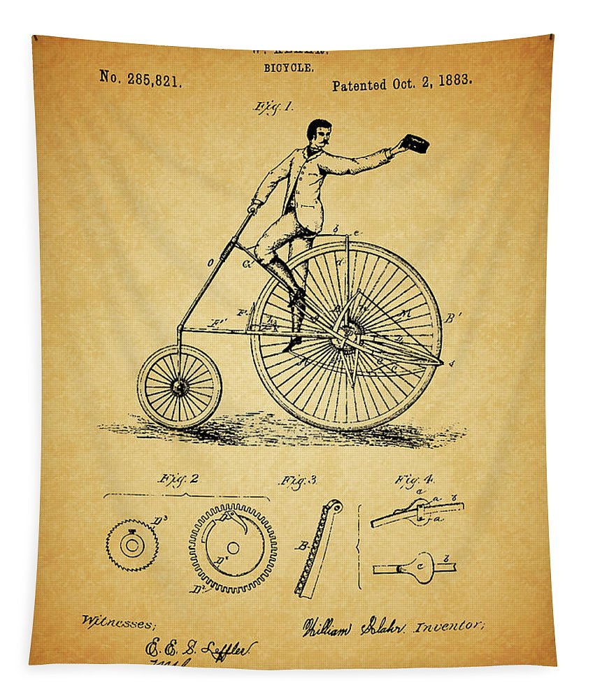 1883 Bicycle Tapestry featuring the drawing 1883 Bicycle by Dan Sproul