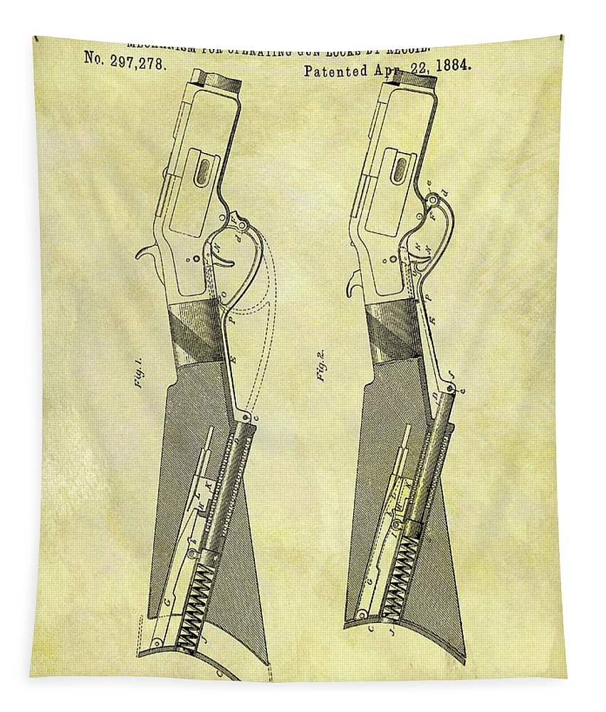 1884 Rifle Stock Patent Tapestry featuring the drawing 1884 Rifle Stock Patent by Dan Sproul