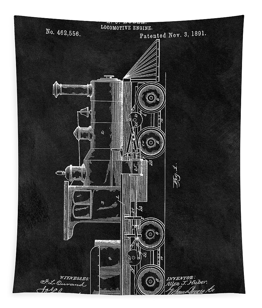 1891 Locomotive Patent Tapestry featuring the drawing 1891 Locomotive Engine Patent by Dan Sproul