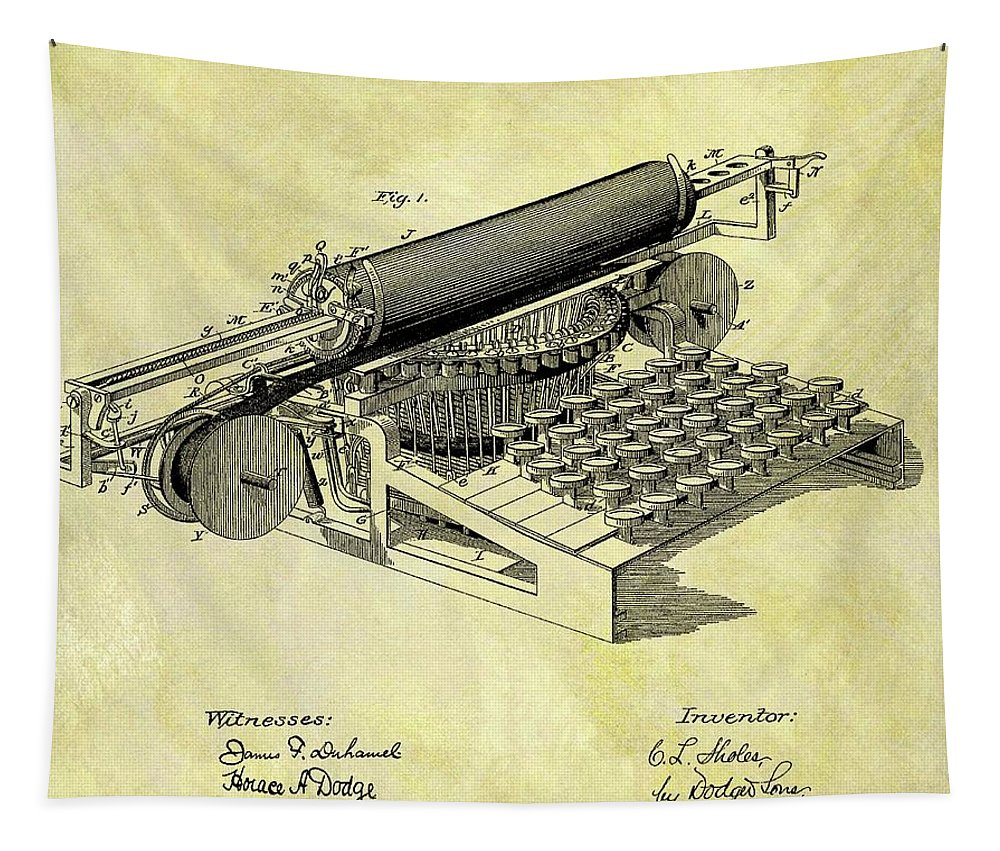 1896 Typewriter Patent Tapestry featuring the drawing 1896 Typewriter Patent by Dan Sproul