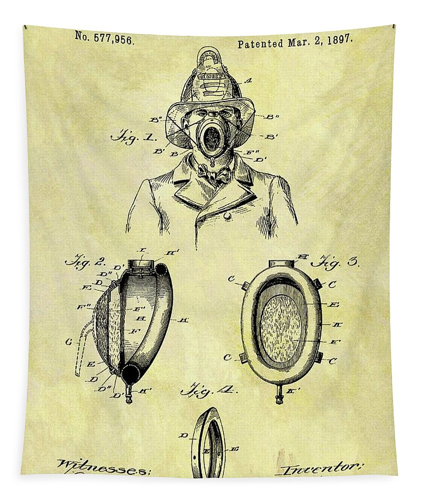 1897 Fireman's Inhaler Patent Tapestry featuring the drawing 1897 Fireman's Inhaler Patent by Dan Sproul