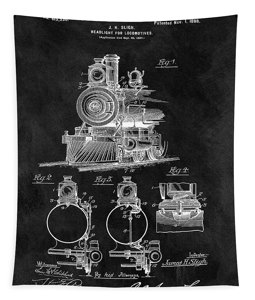 1898 Locomotive Patent Tapestry featuring the drawing 1898 Locomotive Headlight Patent by Dan Sproul