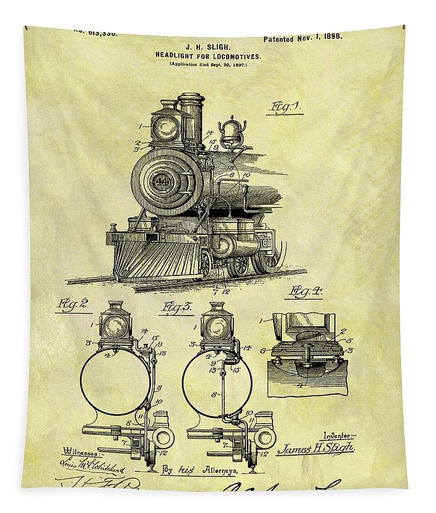 1898 Locomotive Patent Tapestry featuring the mixed media 1898 Locomotive Patent by Dan Sproul