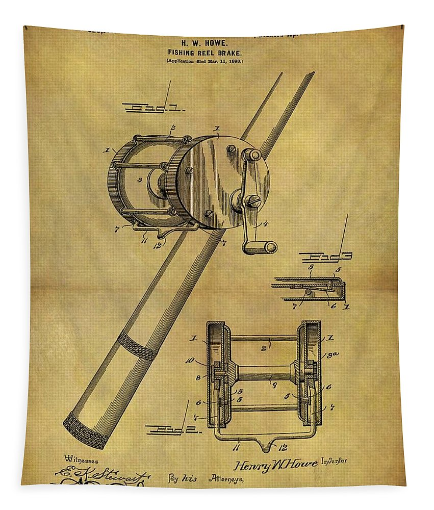 1899 Fishing Reel Patent Tapestry featuring the drawing 1899 Fishing Reel Patent by Dan Sproul