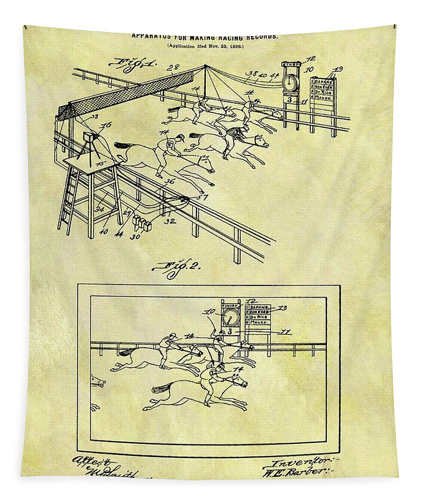 1899 Horse Racing Track Patent Tapestry featuring the drawing 1899 Horse Racing Track Patent by Dan Sproul