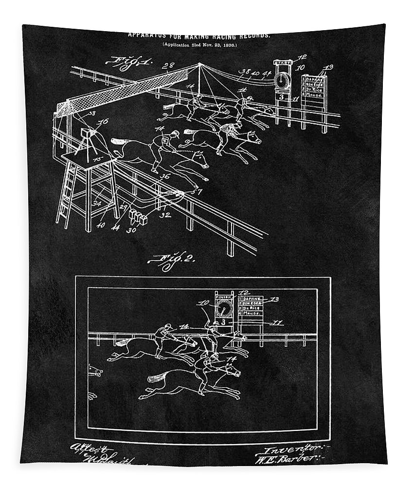 1899 Horse Racing Track Patent Tapestry featuring the drawing 1899 Horse Track Patent by Dan Sproul