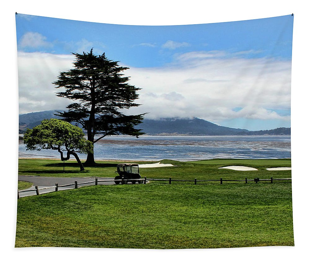 17 Mile Drive Tapestry featuring the photograph 18th At Pebble Beach Horizontal by Judy Vincent