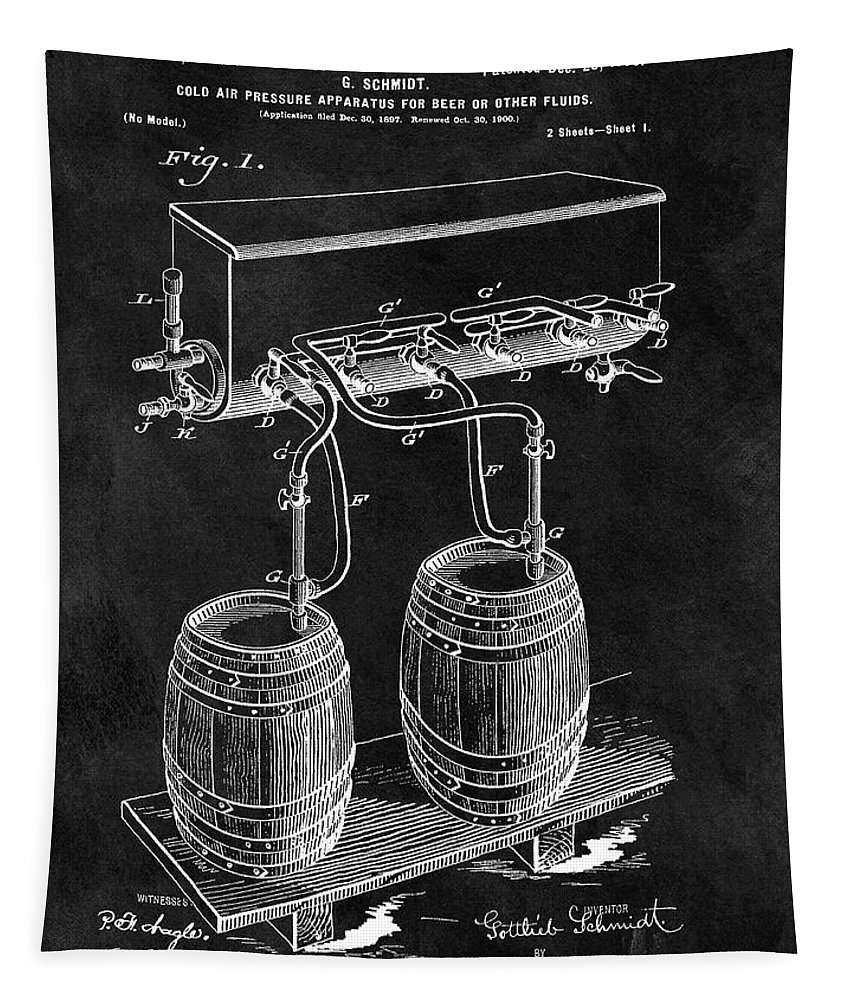 1900 Beer Cooler Patent Tapestry featuring the drawing 1900 Beer Cooler by Dan Sproul