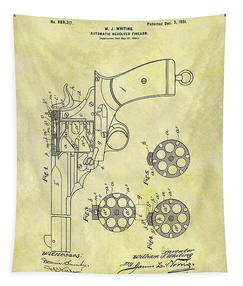 1901 Automatic Revolver Patent Tapestry featuring the drawing 1901 Automatic Revolver Patent by Dan Sproul