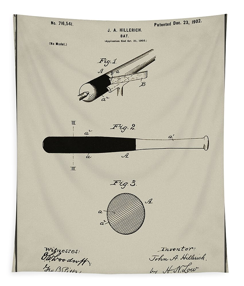 1902 Tapestry featuring the photograph 1902 Baseball Bat Patent In Aged Gray by Bill Cannon