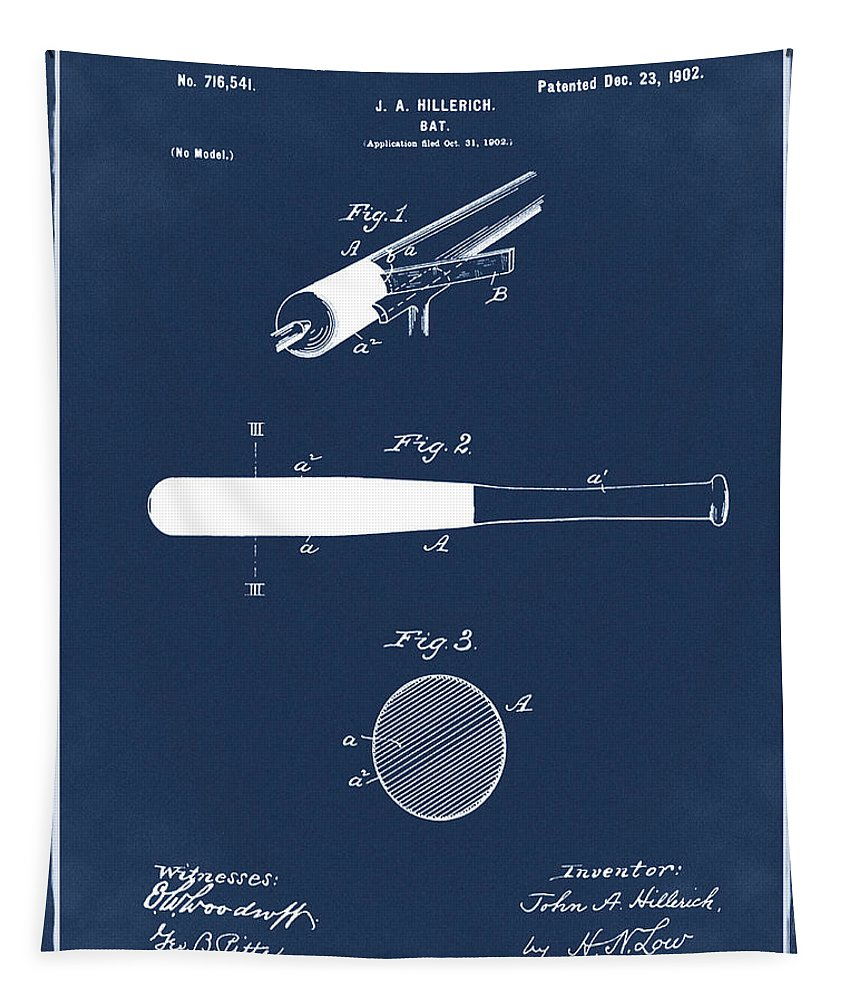 1902 Tapestry featuring the photograph 1902 Baseball Bat Patent In Blue by Bill Cannon