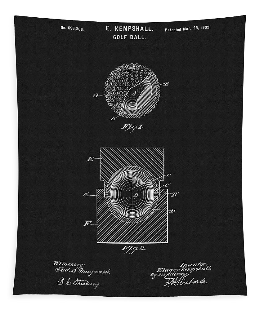 1902 Golf Ball Patent Tapestry featuring the drawing 1902 Golf Ball Design by Dan Sproul