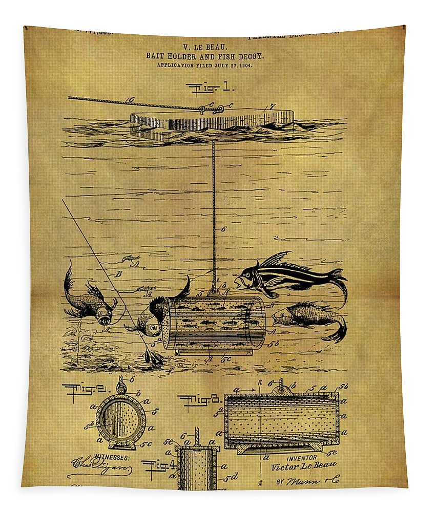 1904 Fishing Decoy Patent Tapestry featuring the drawing 1904 Fishing Decoy Patent by Dan Sproul