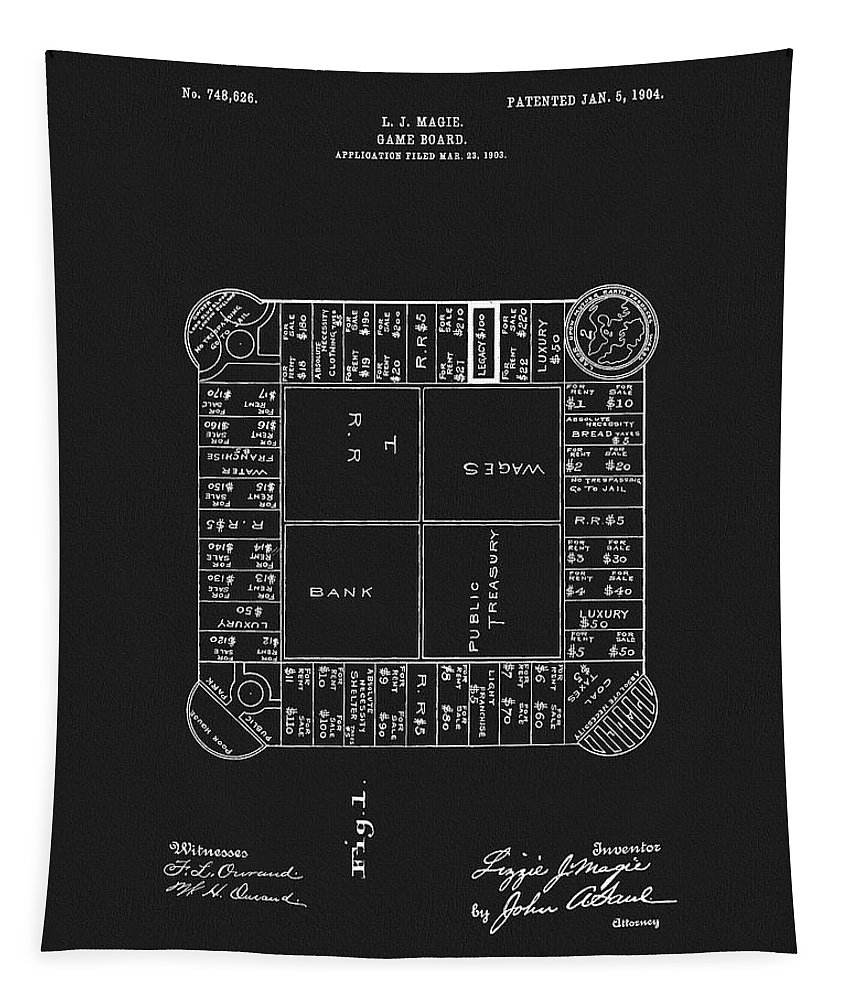 1904 Magie Landlords Board Game Tapestry featuring the drawing 1904 Magie Landlords Board Game by Dan Sproul