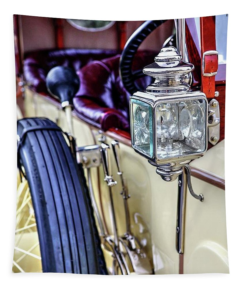 1913 Rolls Royce Silver Ghost Tapestry featuring the photograph 1913 Rolls Royce Silver Ghost Detail by Carol Montoya
