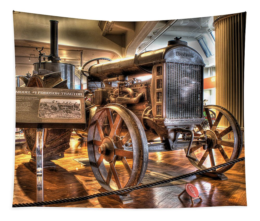 Tapestry featuring the photograph 1917 Model 1 Fordson Tractor Dearborn MI by Nicholas Grunas