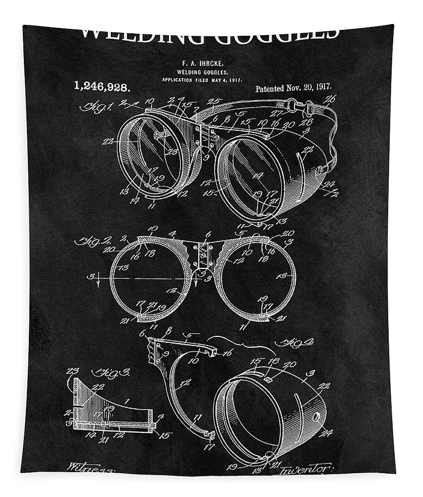 1917 Welder Goggles Patent Tapestry featuring the drawing 1917 Welder Goggles by Dan Sproul
