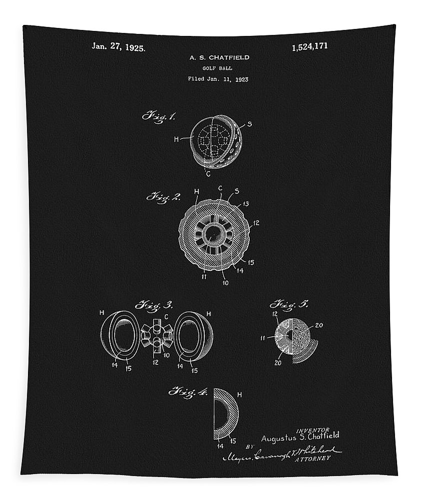 1925 Golf Ball Patent Tapestry featuring the mixed media 1925 Golf Ball Patent by Dan Sproul