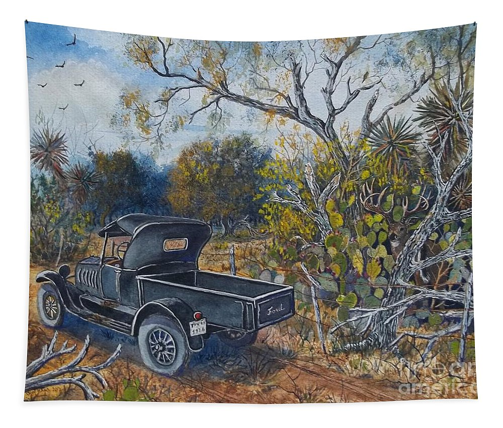 Antique Truck Tapestry featuring the painting 1926 Ford Truck by Don Hand