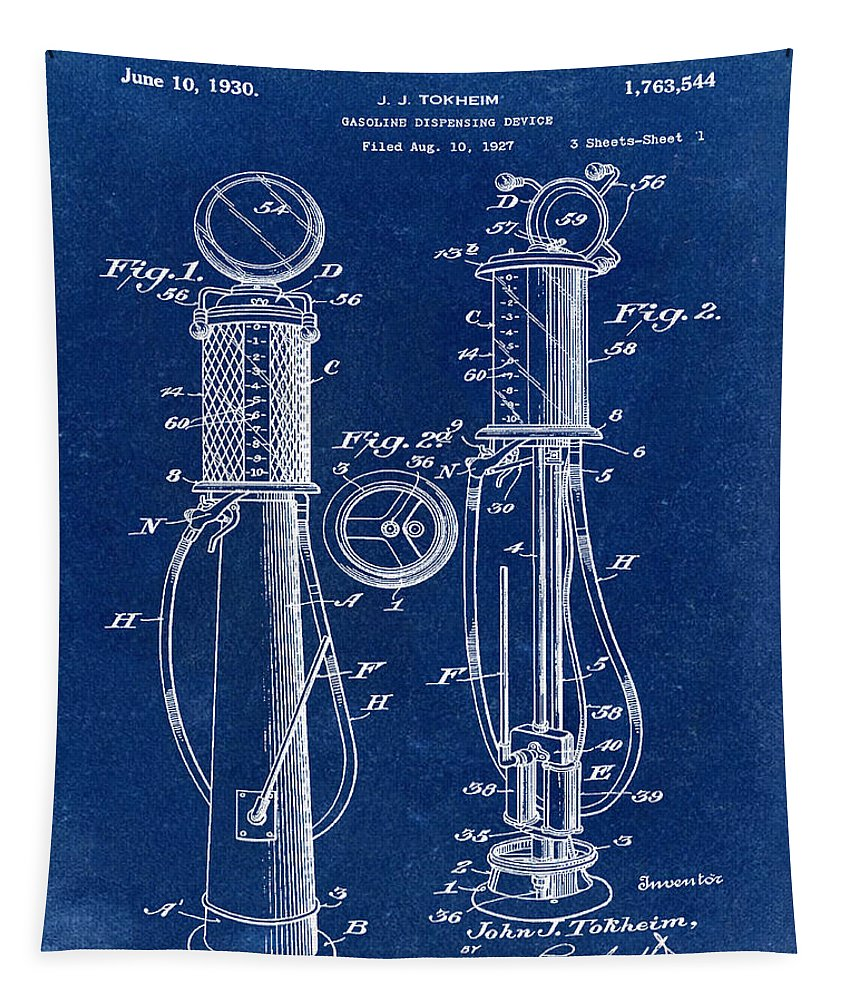 1930 Tapestry featuring the digital art 1930 Gas Pump Patent In Blue by Bill Cannon