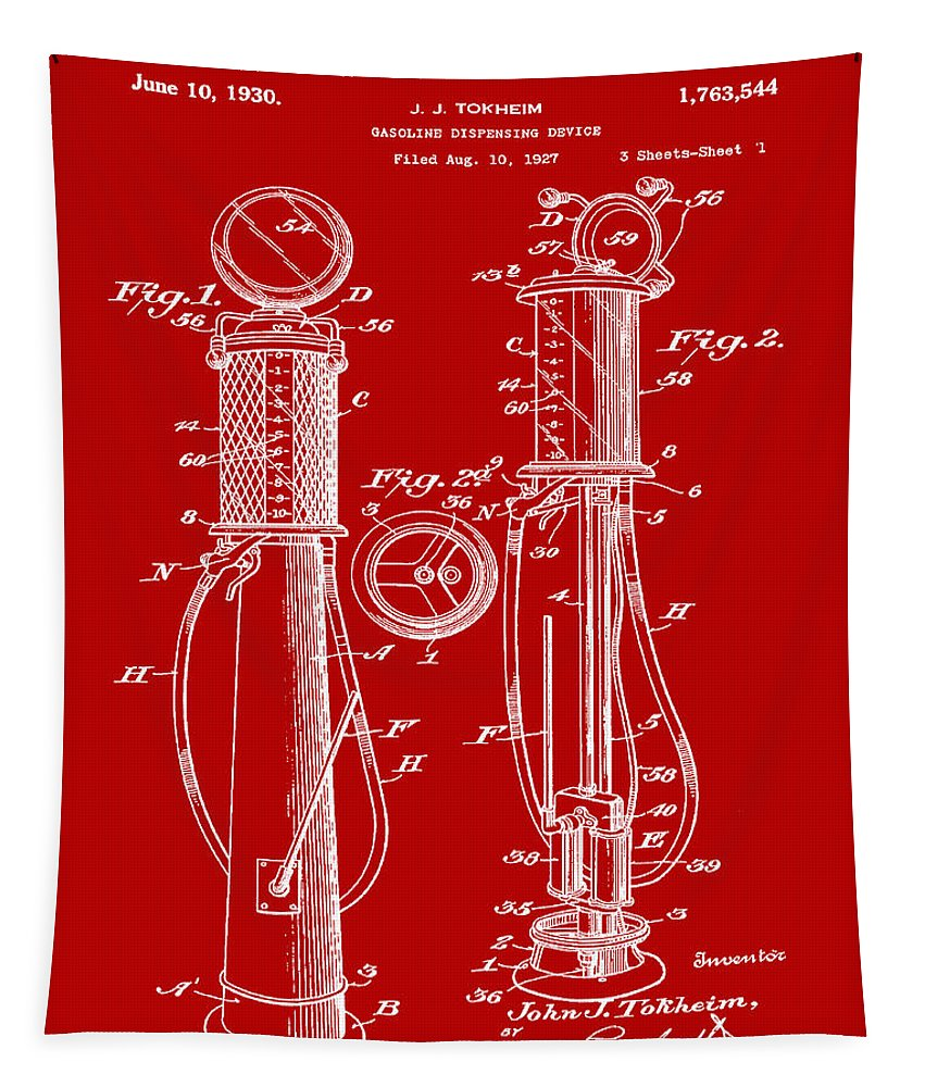 1930 Tapestry featuring the digital art 1930 Gas Pump Patent In Red by Bill Cannon