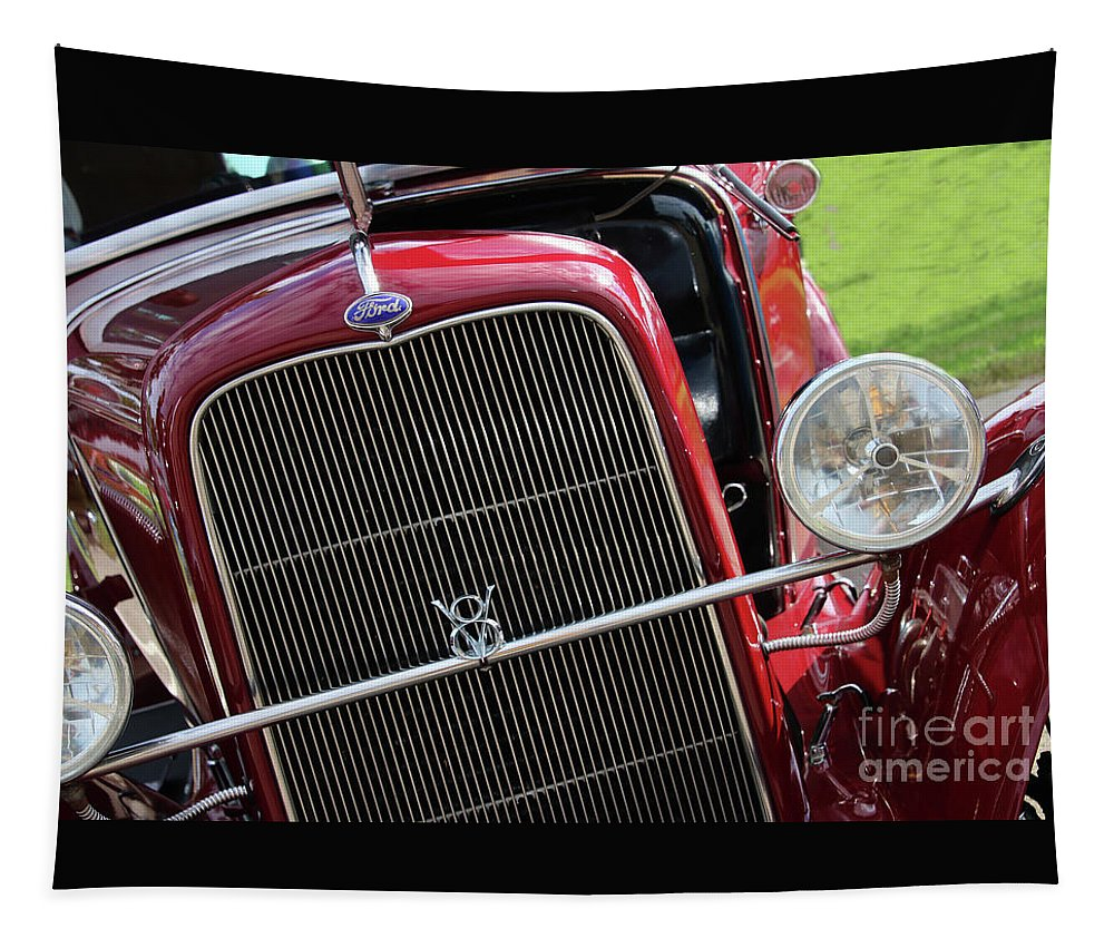 1930 Red Ford Model A Tapestry featuring the photograph 1930 Red Ford Model A-front-8886 by Gary Gingrich Galleries