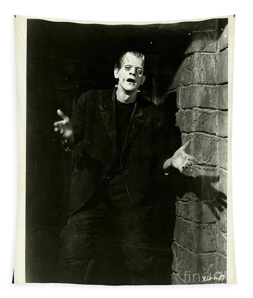 1931 Frankenstein Boris Karloff Tapestry featuring the photograph 1931 Frankenstein Boris Karloff by R Muirhead Art