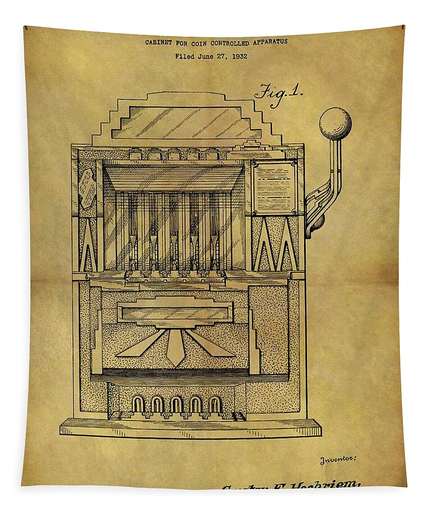 Slot Machine Patent Tapestry featuring the drawing 1932 Slot Machine Patent by Dan Sproul