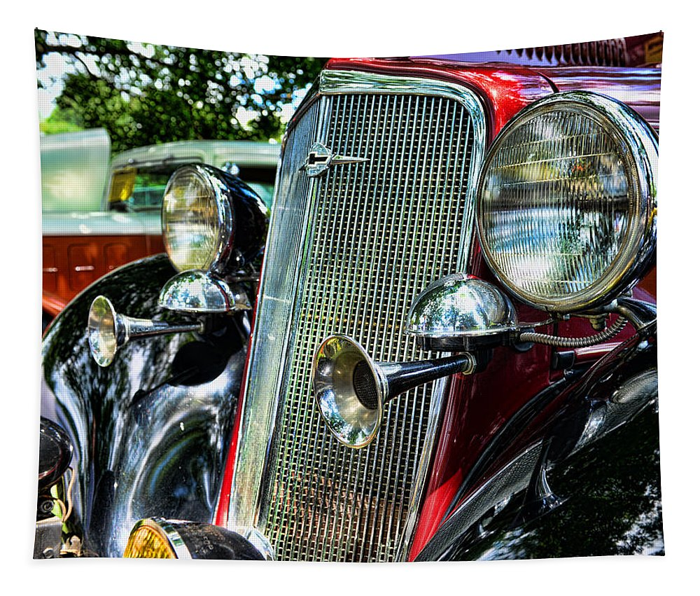 1934 Chevrolet Front Enc Tapestry featuring the photograph 1934 Chevrolet Head Lights by Paul Ward