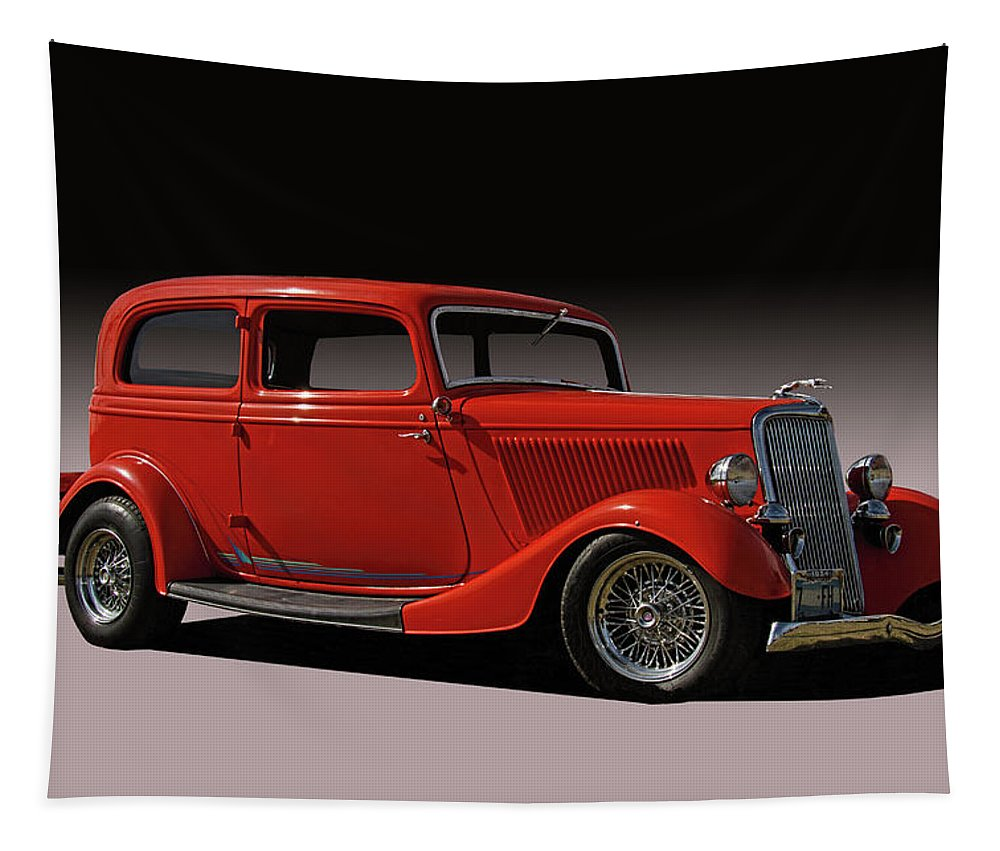1934 Tapestry featuring the photograph 1934 Ford Red Two Door Sedan by Nick Gray