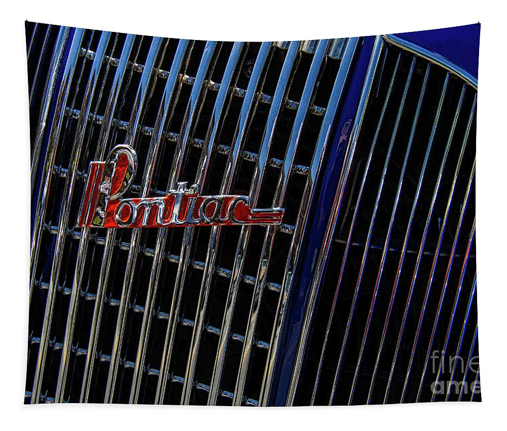 1935 Tapestry featuring the photograph 1935 Pontiac 2 Door Sedan Grill Logo by Nick Gray