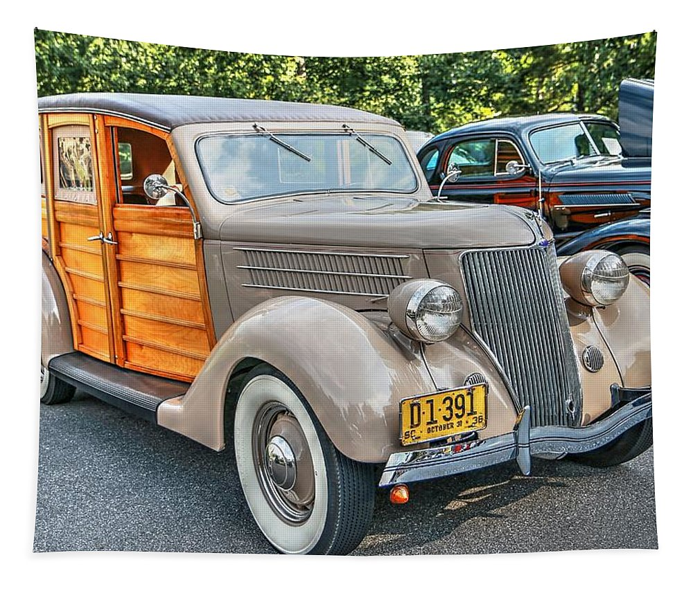1936 Ford V8 Woody Station Wagon Tapestry featuring the photograph 1936 Ford V8 Woody Station Wagon by Carol Montoya