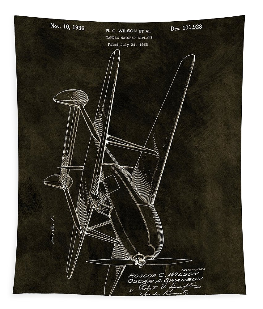 Tandem Biplane Patent Tapestry featuring the drawing 1936 Tandem Motored Biplane by Dan Sproul