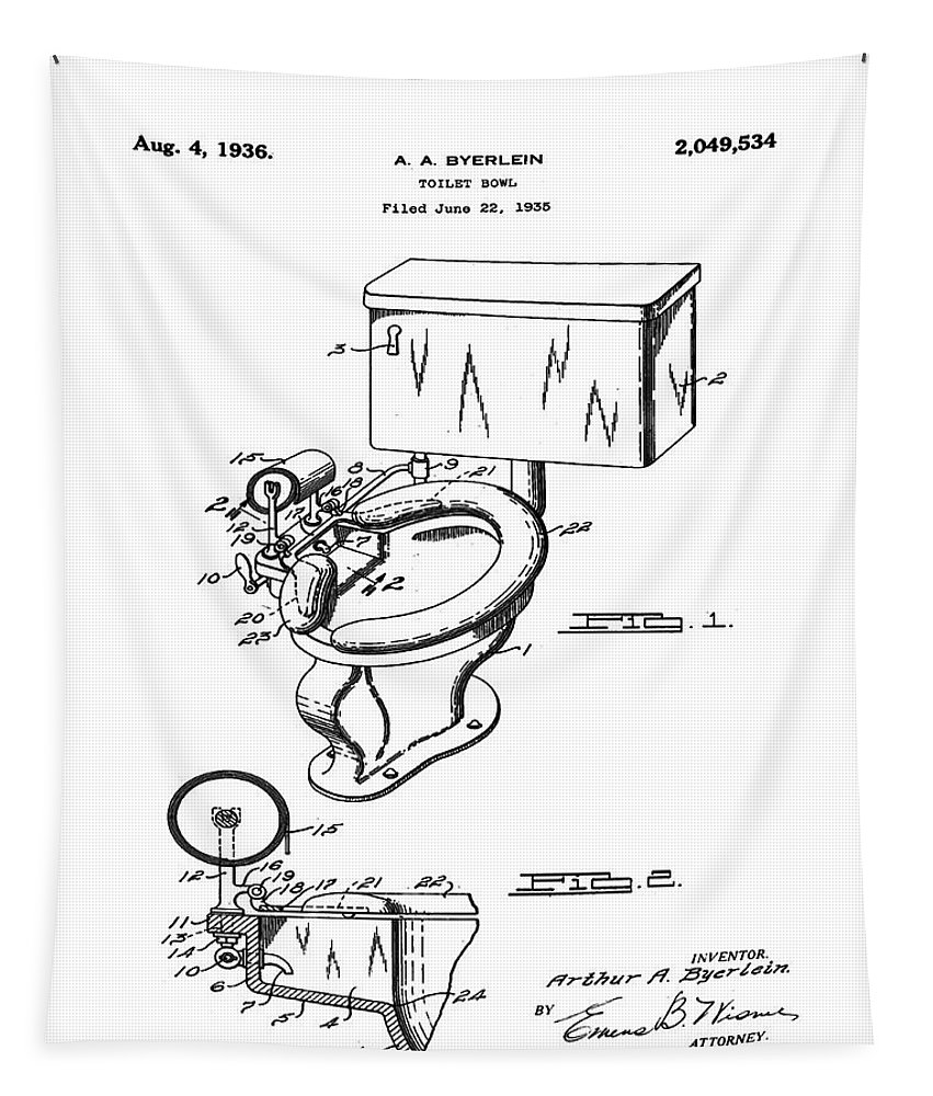 1936 Tapestry featuring the photograph 1936 Toilet Bowl Patent by Bill Cannon