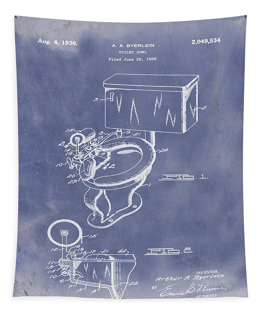1936 Tapestry featuring the photograph 1936 Toilet Bowl Patent Blue Grunge by Bill Cannon