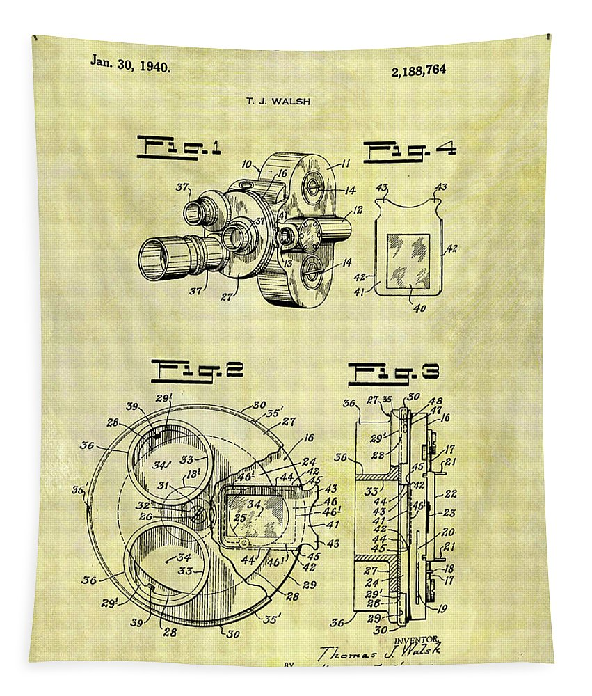 Motion Picture Camera Tapestry featuring the drawing 1940 Film Camera Patent by Dan Sproul